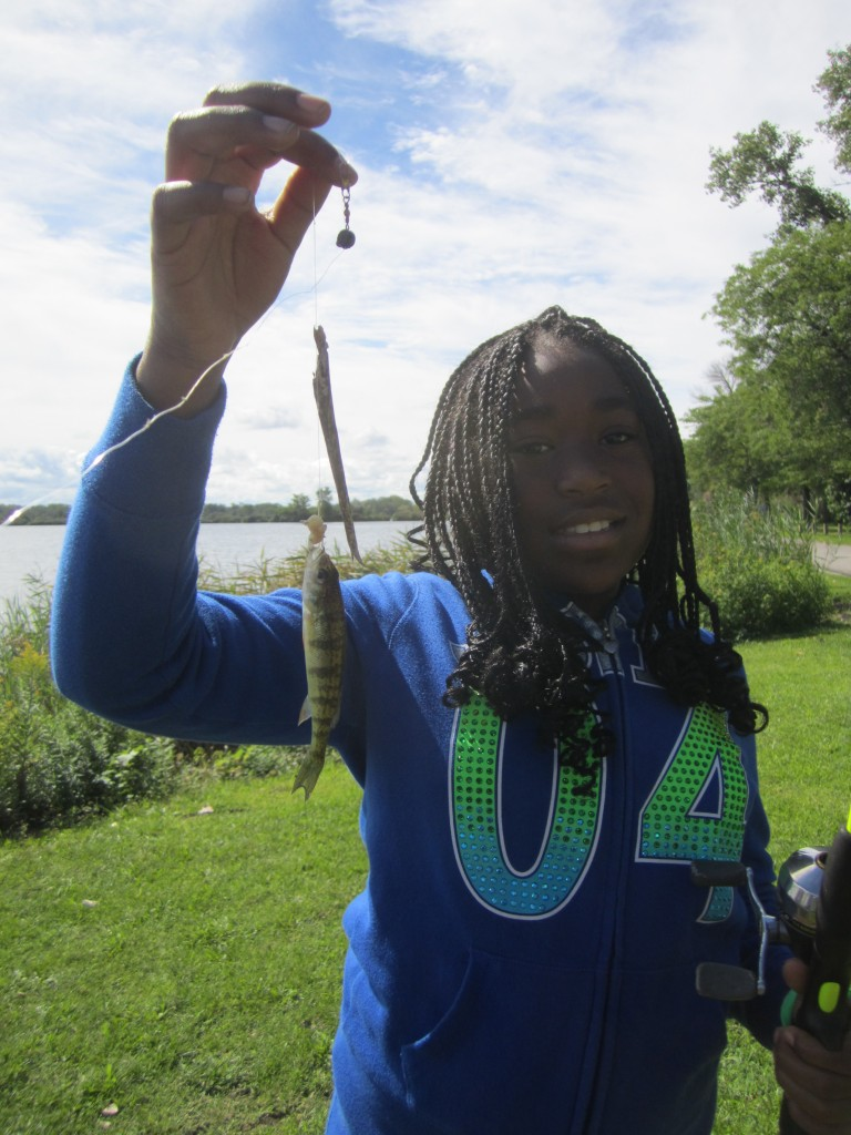 A participant in our fishing derby event in partnership with Fishin' Buddies, part of a series of free recreation events in the Calumet region.
