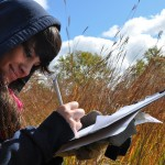 "2012 Photo Contest Runner up: ""Calumet Is My Backyard"" student monitoring at Beaubien Woods near Chicago, Laura Milkert"
