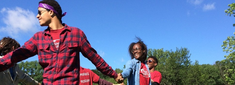 Chicago Conservation Leadership Corps, River Trails Crew performing a team-building exercise.