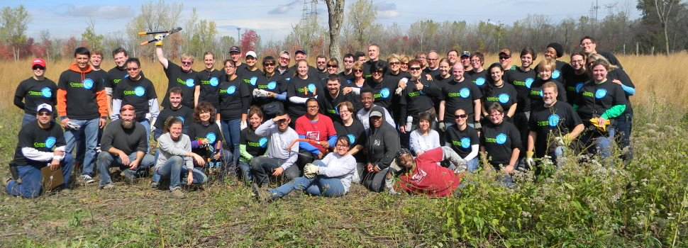 Staff members of Moraine Valley Community College joined Friends for a restoration workday at Kickapoo Woods.