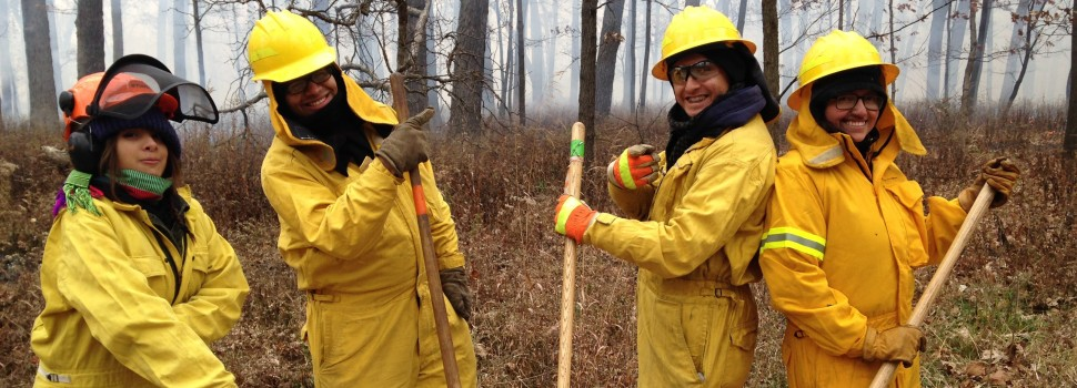 Eduardo Paz and the Forest Preserve Leadership Corps participate in a prescribed burn at McMahon Woods.